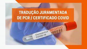 Tradução PCR/Certificado COVID negativo